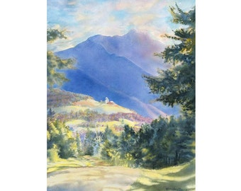 Sunset Ridge Giclee Fine Art Print of Original Watercolor Painting