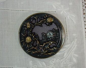 "Antique Picture Button, Scottish Thistle, House Scene, 1 3/8"", Brass"