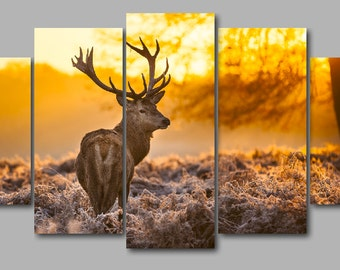 Red Deer Canvas 5 Panel, Deer Wall Art, Deer Poster, Wild Animal Art, Deer Print, Nature Photography, Deer Wall Hanging, Housewarming gift