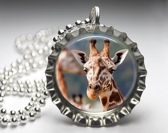 Giraffe Photography Jewelry Bottlecap Pendant Necklace - Free Ball Chain