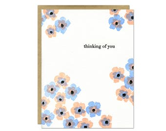 Thinking of You Floral Letterpress Card