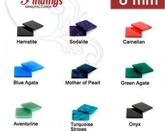 12Pcs x 8mm Flat Square Gemstones for your Choice (8SQFLV)