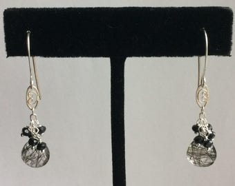 Rutilated quartz with gemstone dangles on Sterling silver S1305