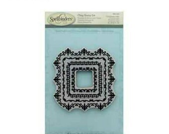 Spellbinders Cling Stamp - Square Magnificence 4 pc Nesting Stamp Set