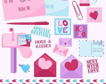 Valentine's Day Clipart, Valentine Clip Art, Mail Clipart, Mailbox Clipart, Stamp Clipart