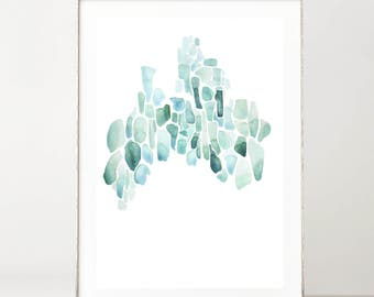 Abstract Watercolor Painting, Abstract Art, Sea Glass Painting, Watercolor, Original, Coastal Wall Art, Sea Glass Wall Art, Abstract Beach