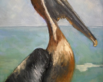Pelican Art Print on Canvas, Pelican Giclee, Impressionist art, Daily Painting, choose your size, free shipping, Ready to Hang, No Frame