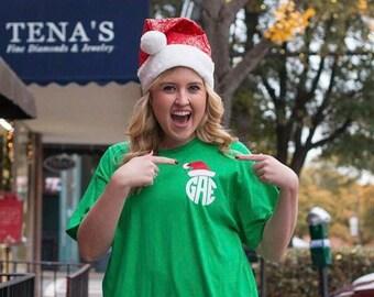 Santa Hat Monogram Tee - Santa Shirt - Christmas Monogram - Unisex sizes - Womens Sizes - Plus Sizes