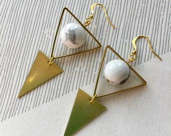 Geometric double triangle earrings with marble beads