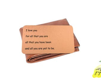 Copper Wallet Insert Card, Copper Colored Aluminum Card, Copper Anniversary Gift, Picture Wallet insert Card, Father's Day Gift for Dad, 7th