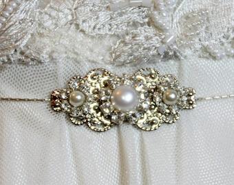 Bridal Belt Silver Sash Rhinestone Hip Belt Crystal Pearls Victorian Style Belt Wedding Victorian Dress Belt Unique Bridal Sash Silver chain