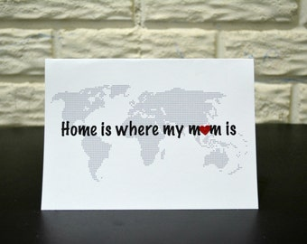 Mother's day card, Home is where mum is card, Handmade mother's day card
