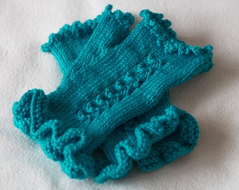 Turquoise Fingerless Gloves, Hand Knitted Wool Mittens, Frilly Wrist, Womens Gloves, Ladies Mitts, Hand Knit Winter Gloves