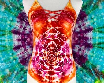 Small Tie Dye Ice Dye Mandala Red / Pink / Yellow / Orange Bodysuit Festival Fashion Psychedelic Clothing Hippie Clothes Handmade