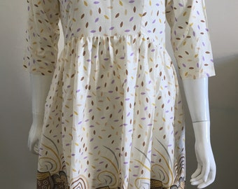 Cream Cotton Dress - Summer Dress - Floral Print Summer Dress - Cream Dress  - Short Sleeve Dress - Handmade by ALOPA - Dress with Pockets