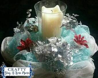 Christmas Snowy Centerpiece Candleholder