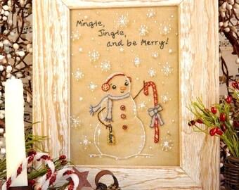 Christmas jingle Snowman embroidery Pattern - PDF stitchery frosty candy cane frame