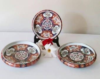 3 Stunning Gold Imari Japanese shallow bowls.