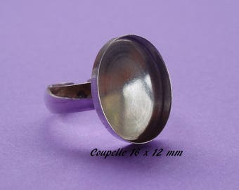 Support ring silver. 925 tray-dish 16 x 12 mm