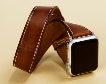 Double Tour Band for Apple Watch, iWatch Brown Leather Strap 42mm 38mm, for Man or Women Strap Laser Initials, Gift Wrapping Avaliable