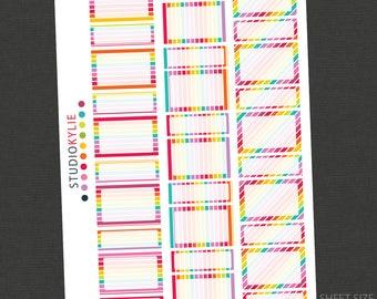 Rainbow Collection Planner Stickers - Quarter Boxes & Half Boxes - Repositionable Vinyl