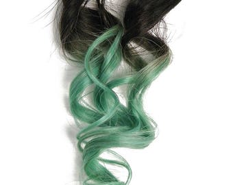READY TO SHIP clip in Mint Teal Turquoise Ombre Human Hair Extensions #1B Natural Black Root Perfect for DiY Mermaid and Unicorn Hair