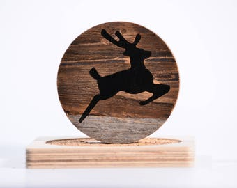 Reclaimed Wood Circle Magnet (stag inlay)