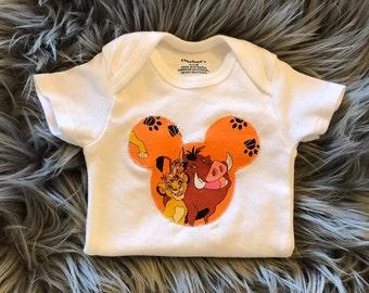 Lion King, Mickey Silhouette Baby Boy Gerber Onesie, Baby Boy Bodysuit