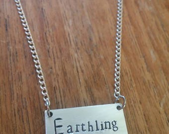 Earthling ~Rectangular Rectangle Pendant Necklace ~Vegan,Animal Rights,Activism~Rustic Silver Handmade Hand Stamped Jewellery Jewelry Gift
