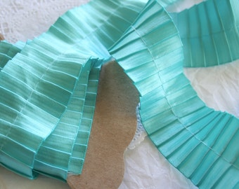 2Y Soft Turquoise Ribbon, Pleated Satin