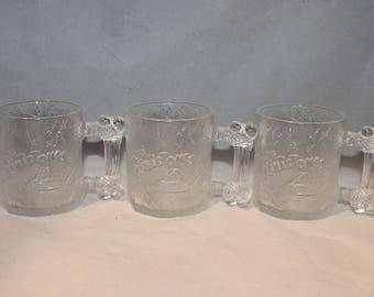 Flintstones bone glass frosted bone mugs 1993