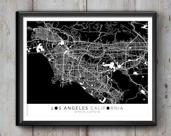 Los Angeles Map with Coordinates, Los Angeles Map, Map Art, Map Print, Los Angeles Print, Los Angeles Art, Los Angeles,  Los Angeles Decor