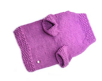 Merino sweater for cat Clothes for cats Sphynx cat sweater Jumper for cats Purple merino wool sweater for pet