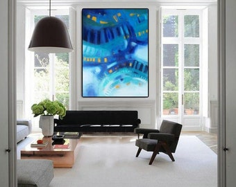 "XL abstract art, turquoise and navy blue abstract painting, original or art print on paper or canvas, horizontal or vertical art 36""x48"""