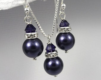 Regency Purple Bridesmaid Jewelry Set, Dark Purple Pearl Jewelry Set, Bridesmaid Jewelry Set, Regency Bridesmaid Gift, Dark Purple Jewelry