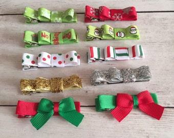 Christmas Baby/Toddler Hair Clips, Christmas Bows, No-Slip Hair Clips, Toddler Barrettes, Toddler Christmas, Baby Christmas Gift