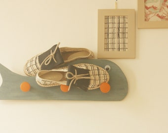 Espadrilles handmade  / unisexe / Motif carreaux.