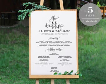 Wedding Program Sign Template, Printable Wedding Program Board, Program Sign, Wedding Sign, Editable PDF, Instant Download #SPP013pb