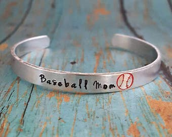 Baseball Mom Bracelet - Cuff Bracelet - Baseball - Ball Mom - Sports Mom - Baseball Fan - Team Sports - Mom - Sports Jewelry - Sports