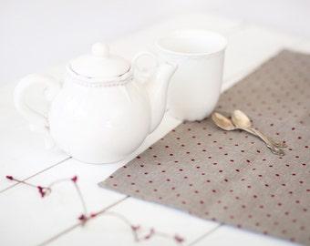 Christmas cloth napkins set 12 - Stonewashed linen napkins - Housewarming gift - Polka dot napkins - Christmas table decor - Xmas napkins