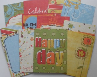 HAPPY DAY - Journal Cards - Chipboard Die Cuts - Birthday Pictures & Quote Embellishments - 12 Pieces