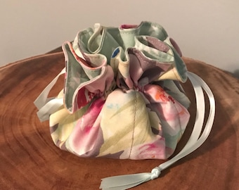 Floral Drawstring Jewelry Bag
