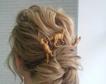 Dinosaur hair pin stick Dinosaur hair accessories Dinosaur wedding Copper hair pins Archaeology lover gift Jurassic Park Dino girl birthday