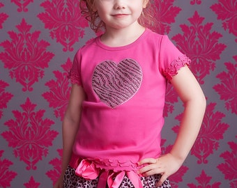 Hot Pink and Zebra Sweetheart Shirt- Perfect for Valentine's Day, Birthday Parties, and Portraits