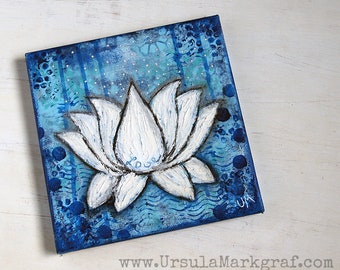 LOVE - Lotus-Canvas - original mixed media art on canvas, 20cm x 20cm, wall art