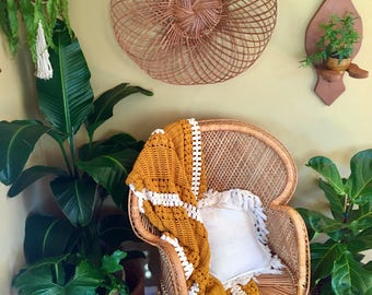 """Vintage Bohemian Extra Large Delicate Rattan Wall Hanging / Huge Basket-Style Wall Decor - 24"""" Diameter - Vintage Bohemian Wall Decor"""