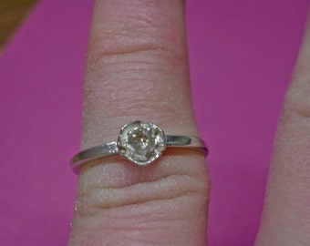 Diamond Ring - Champagne Diamond and Sterling Silver Ring -  Sterling Silver Ring