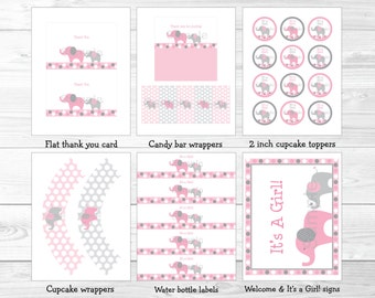 Pink Elephant Baby Shower Party Package / Elephant Baby Shower Decorations / Pink & Gray / INSTANT DOWNLOAD A334