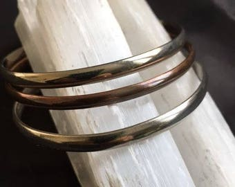Vintage Set of 3 Bangle Bracelets Copper Tone 2 Silver ( One Marked Mexico)
