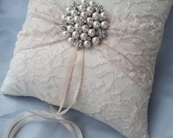 Ivory Ring Bearer Pillow Lace Ring Pillow Pearl Rhinestone Accent